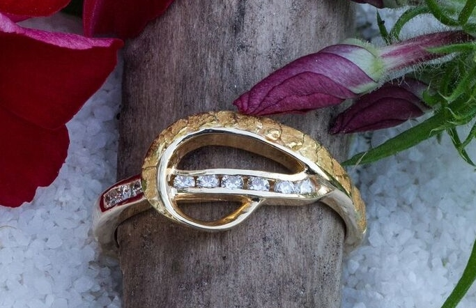 Alaskan Gold Nugget and Diamond Ring