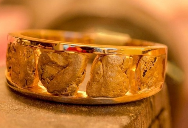 Natural Alaskan Gold Nugget wedding band.