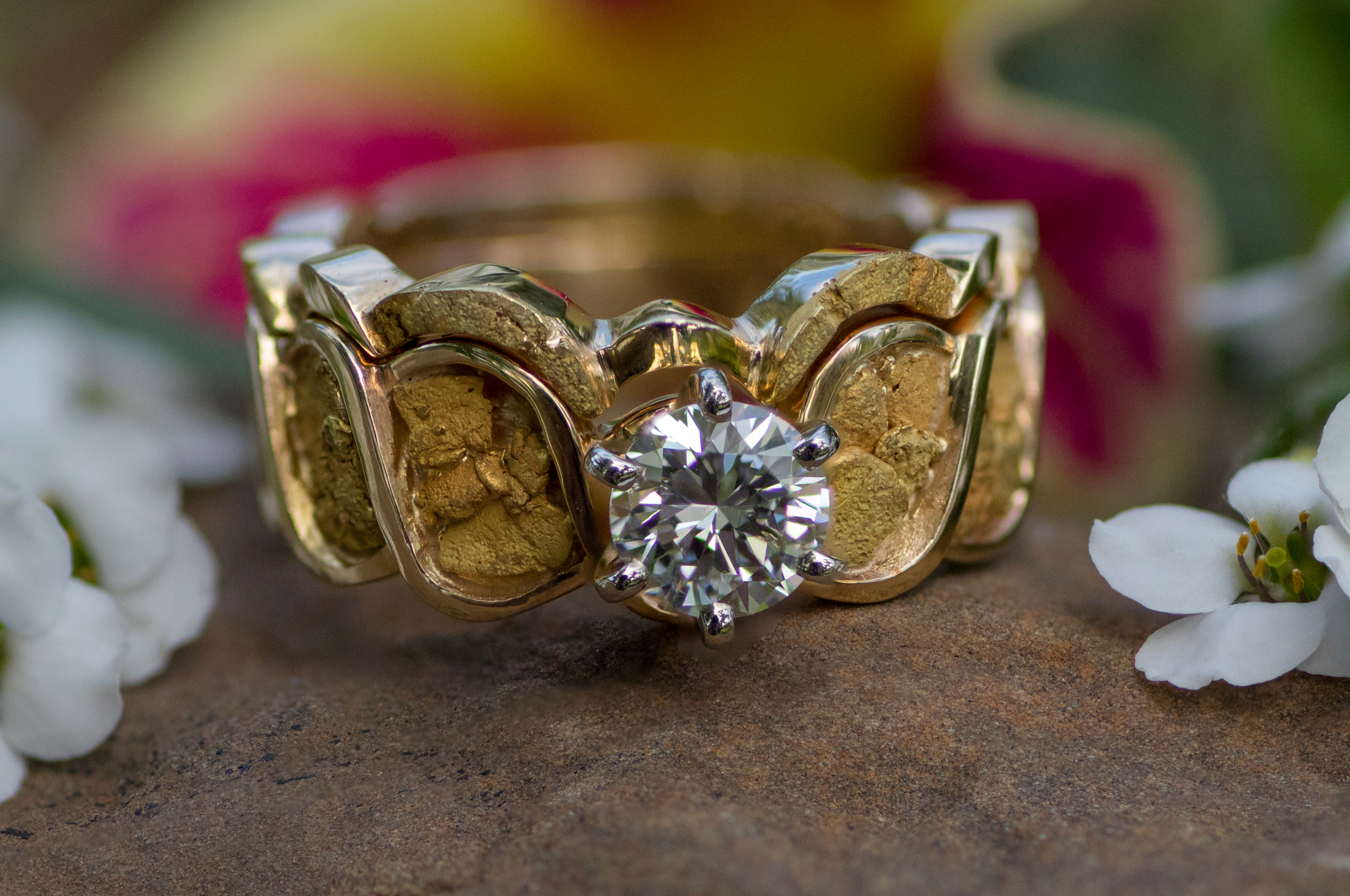 Diamonds and Alaskan Gold Nugget Wedding Set in Yellow Gold