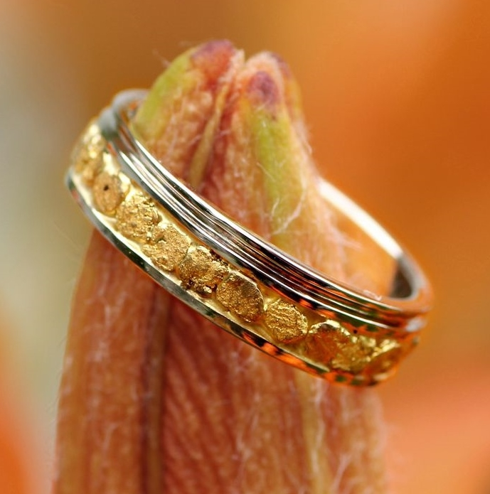 Custom Alaskan Gold Nugget Wedding Band