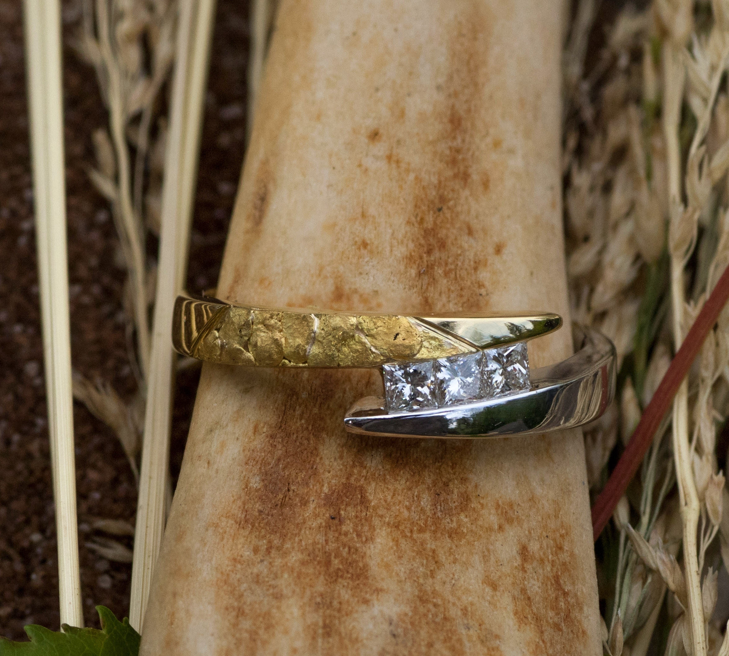 Alaskan Gold Nugget and Diamonds in 18kt White Gold and 18Kt Yellow Gold.