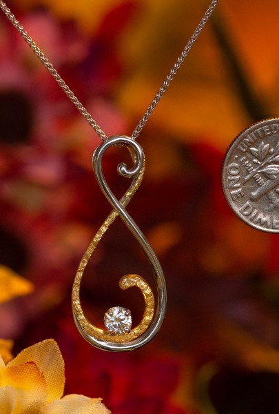 Alaskan Gold Nuggets and diamond Pendant in White Gold