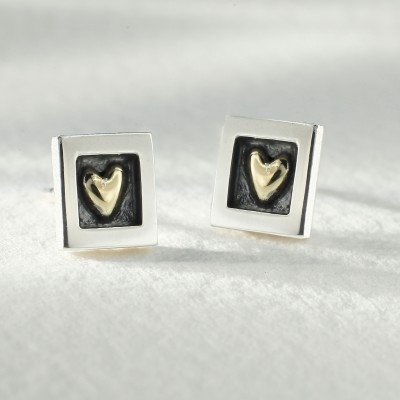 Sterling Silver Hear of Gold Earrings