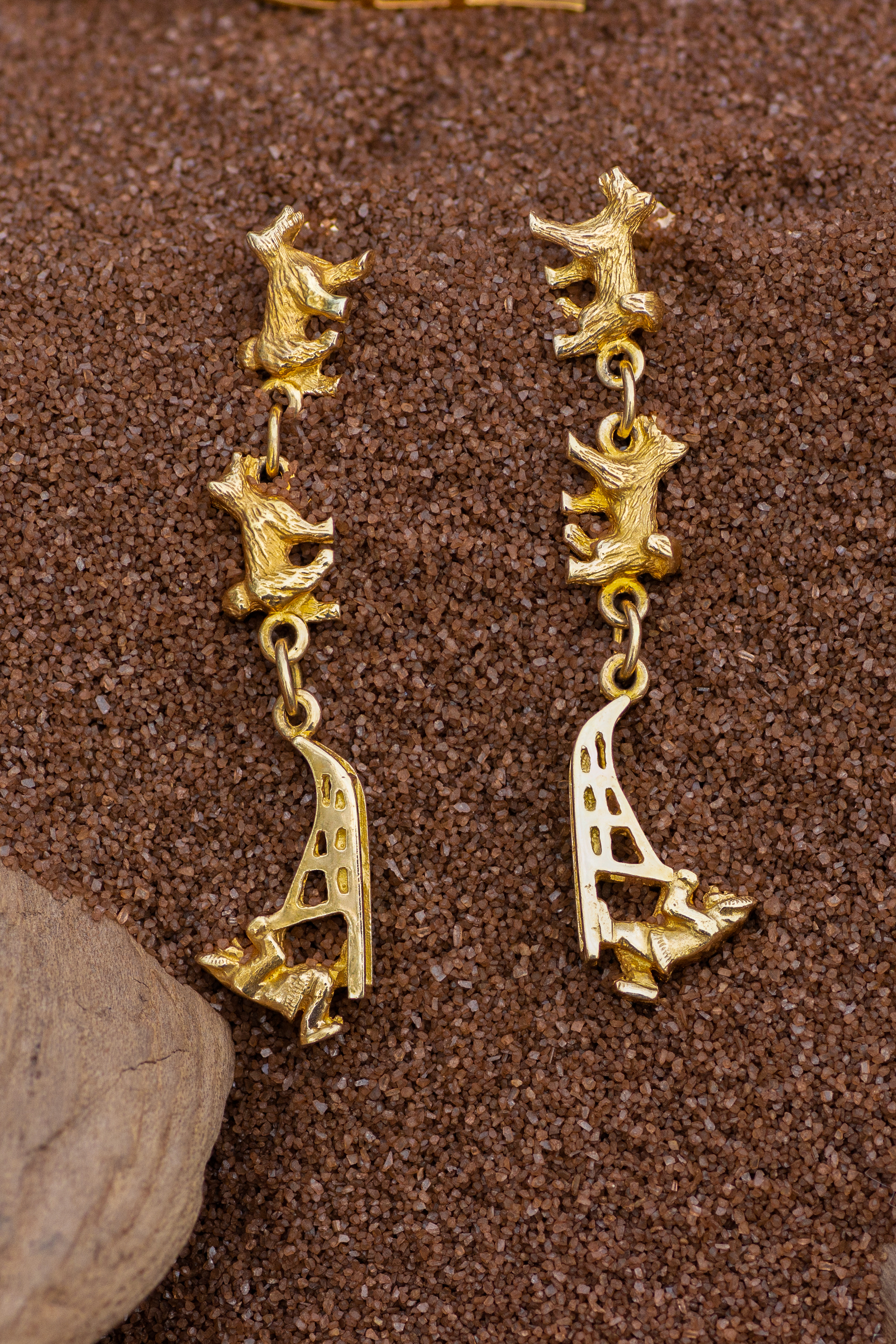 Sled Dog Earrings in 14Kt Yellow Gold.