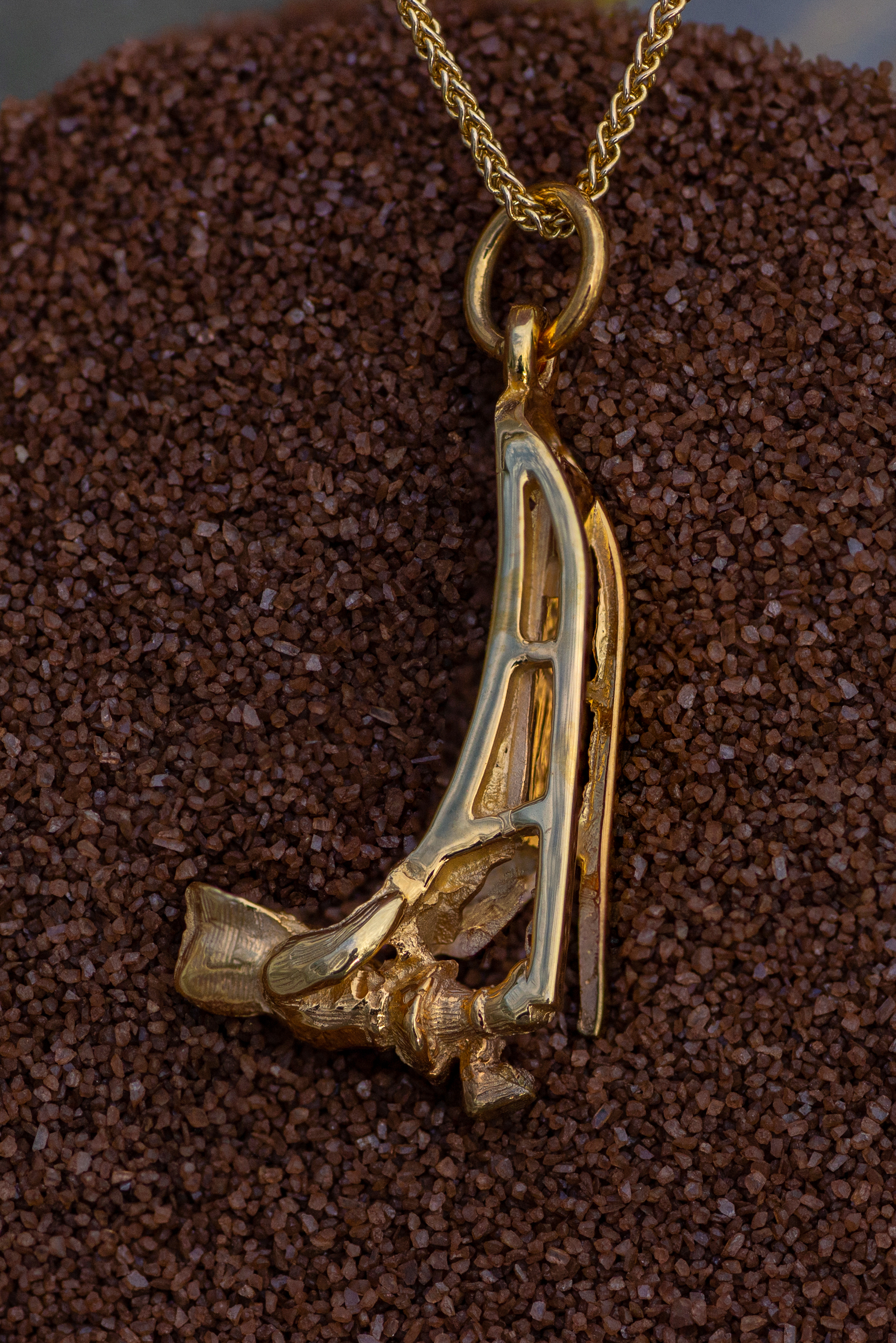 Wild Alaska Musher Pendant Crafted in 14kt Yellow Gold