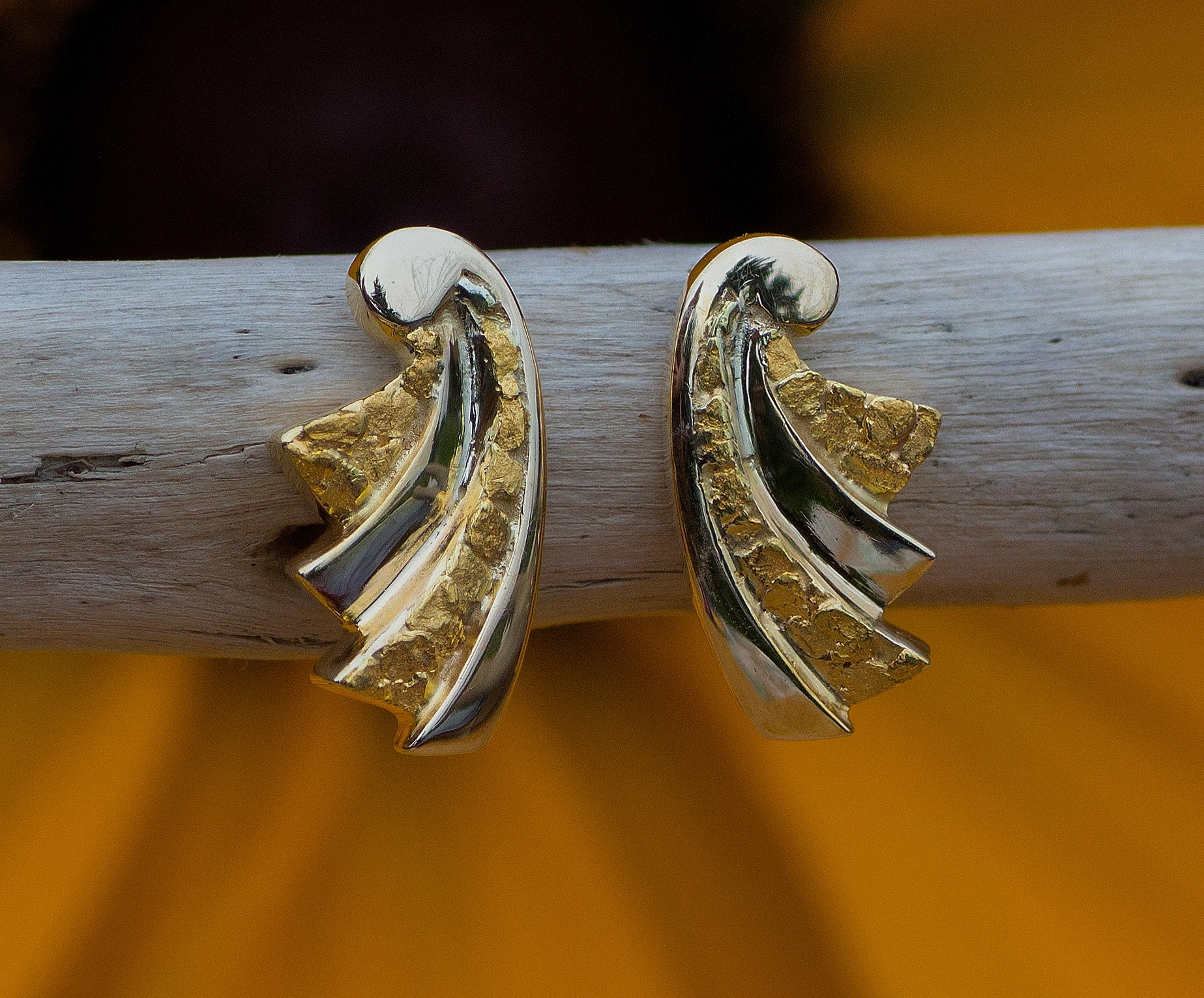 Natural Gold Nugget Earrings in 14kt Yellow Gold