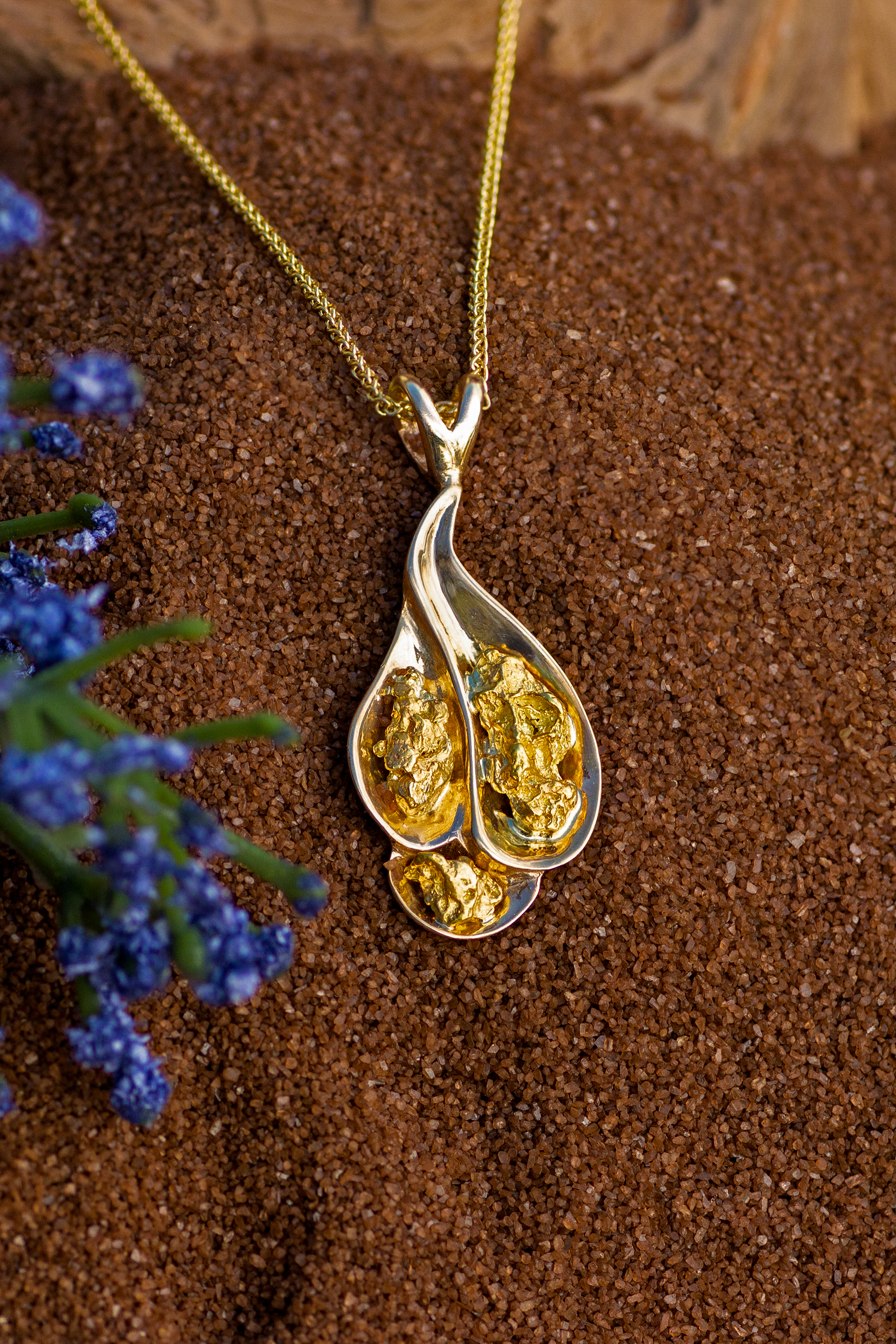 Gold Nugget Pendant in Yellow Gold