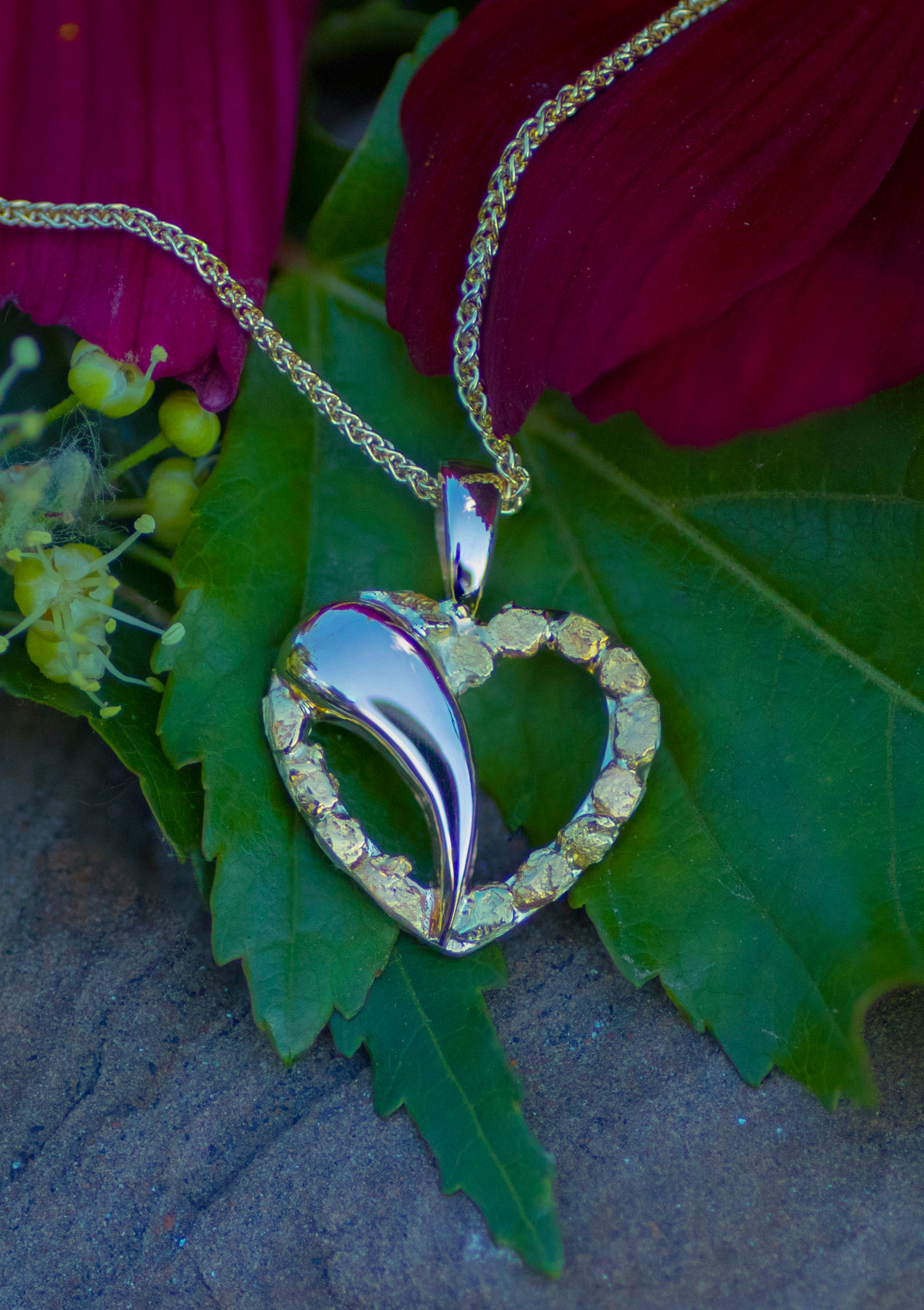 Beautiful Gold Nuggets in 14kt Yellow Gold Heart Pendant