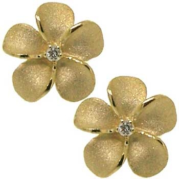 Alaskan Forget Me Not Flower Earrings in yellow and white gold with Diamonds