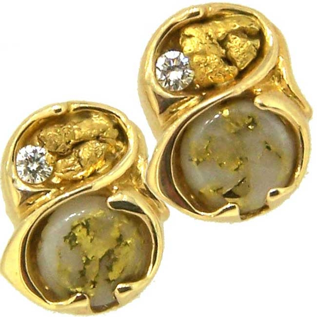 Genuine Gold Quatrz Diamond Alaskan Gold Nugget Earrings