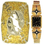 Designer Watches & Accessories,Alaskan Gold nugget Tie Tacs,Custom Alaska Gold Nugget Time Pieces,Gold Nugget Watches
