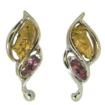 Rhodolite Garnet and Alaskan Gold Nugget Earrings