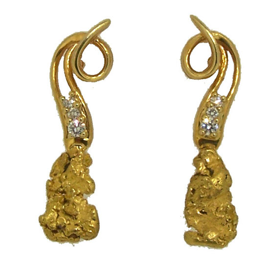 Alaskan Gold Nugget and Diamond Swirl Top Earrings