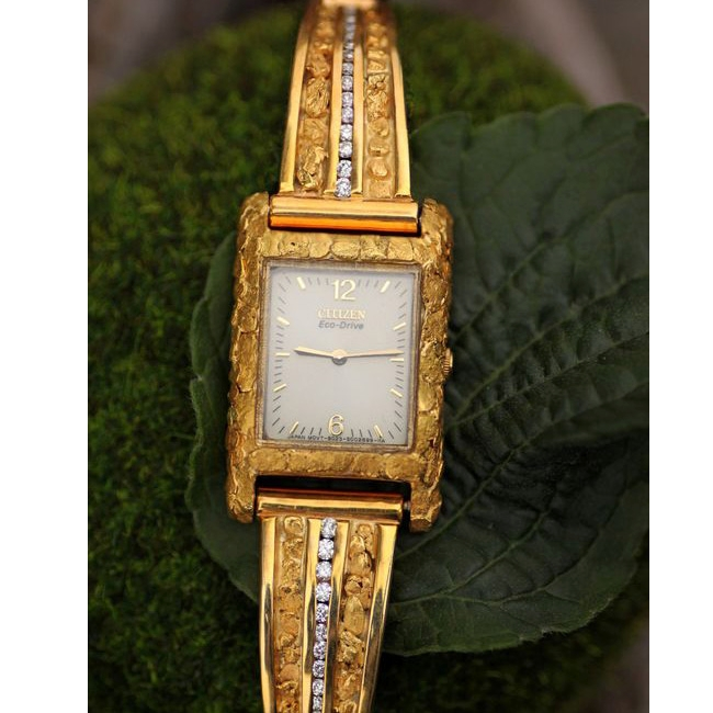 Custom Alaskan Gold Nugget Diamond SEIKO Watch, Gold Nugget Diamond Jewelry