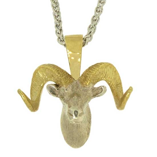 Alaskan Dall Sheep with radiated Yellow Diamond Eyes in Two Tone Gold Pendant