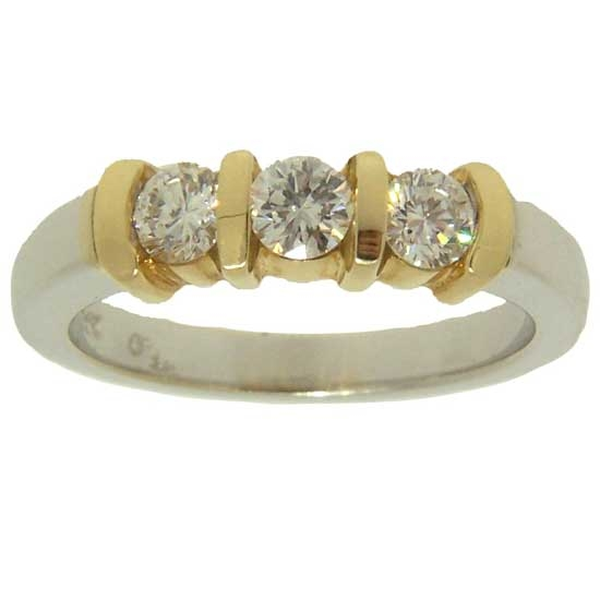 Diamond and Two Tone Gold Ring