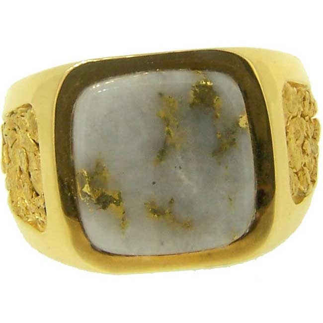 Mens Alaskan Gold Nugget and Diamond Rings