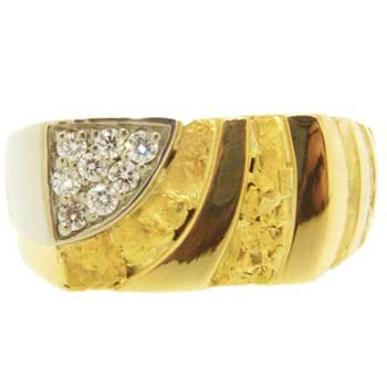 Alaskan Gold Nuggets and Diamonds in two-tone Gold Ring
