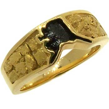 State of Alaska Alaskan Gold Nugget Ring in Yellow Gold