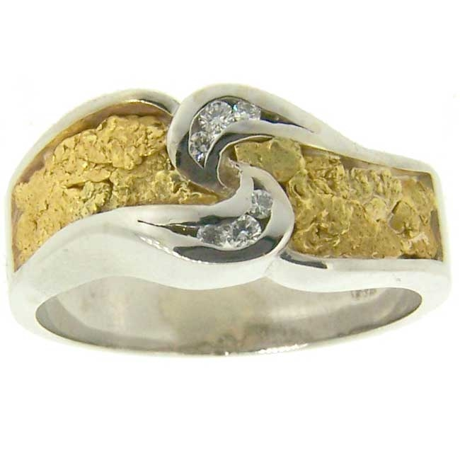 Alaskan Gold Nuggets Diamonds channel-set in 14kt White Gold wedding band.
